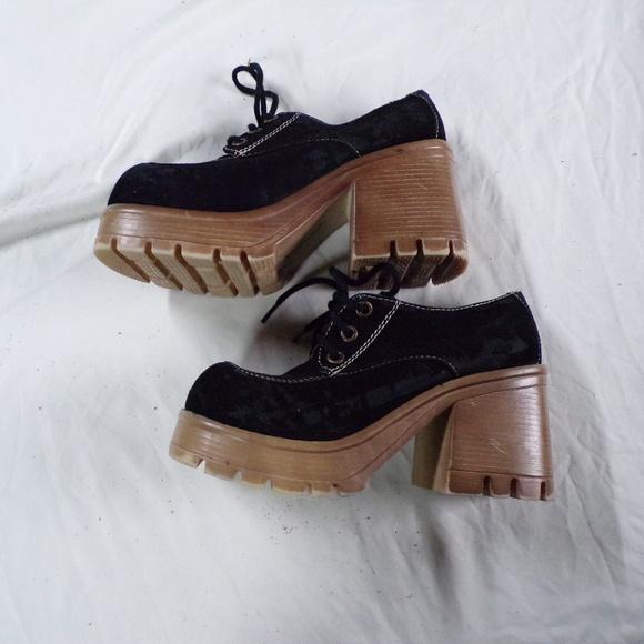 Fashion Bug Black Suede Platform Heels